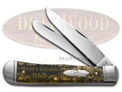 Case xx Trapper Knife World's Greatest Dad Antique Bone 1/500 Pocket Knives