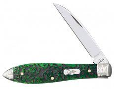 Case xx Tear Drop Gent Knife Heartleaf Bermuda Green Bone 60325 Scrolled