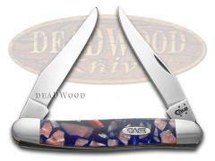 Case xx Muskrat Knife Chipped Blue Silk & Pink Pearl Corelon Stainless Pocket