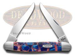 Case xx Muskrat Knife Chipped Pink Pearl & Blue Silk Corelon Stainless Pocket