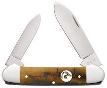 Case xx Ducks Unlimited Canoe Knife Hunting Dog Etched Antique Bone 07543 Pocket