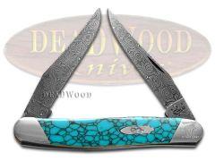 Case xx Painted Pony Muskrat Knife Damascus Blue Turquoise Web Slanted SD9200TWM
