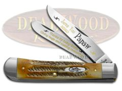Case xx Trapper Knife Love You Papaw 6.5 BoneStag 1/500 Stainless Pocket Knives