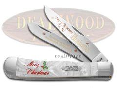 Case xx Merry Christmas Husband Trapper Knife White Pearl Corelon 1/500 Pocket