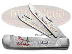 Case xx Merry Christmas Son Trapper Knife White Pearl Corelon 1/500 Stainless