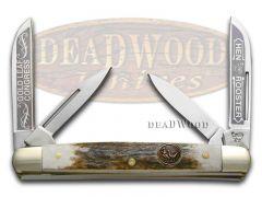 Hen & Rooster Medium Congress Knife Gold Leaf Deer Stag Stainless 214-DS/GL