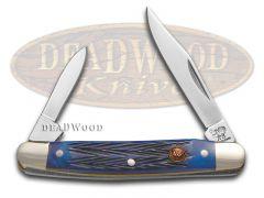 Hen & Rooster Pen Knife Blue Pick Bone Handle Stainless Pocket Knives 302-BLPB