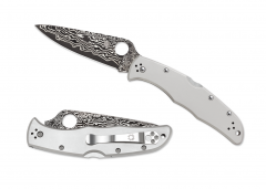 Spyderco Endura Lockback Knife Titanium Handle Damascus Pocket Knives C10TIPD
