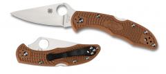 Spyderco Delica 4 Lockback Knife Brown FRN VG-10 Stainless C11FPBN Pocket Knives