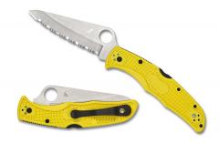 Spyderco Pacific Salt 2 Lockback Knife Yellow FRN Serrated H-1 Stainless C91SYL2